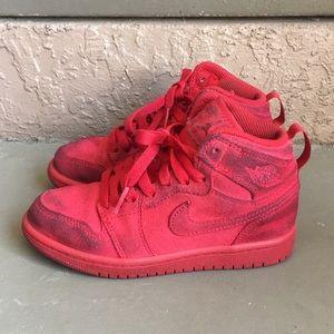 Boys Air Jordan Retro 1 Red Shoes size 12C